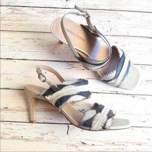 DONALD J PLINER Leather Fringe Slingback Sandals